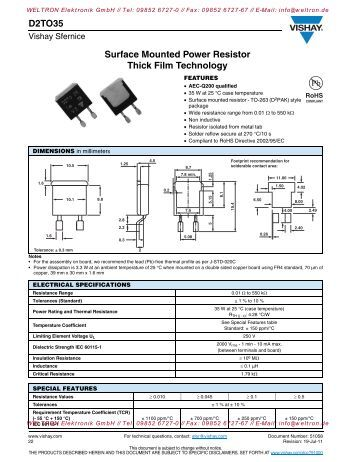 D2TO35 Surface Mounted Power Resistor Thick Film Technology
