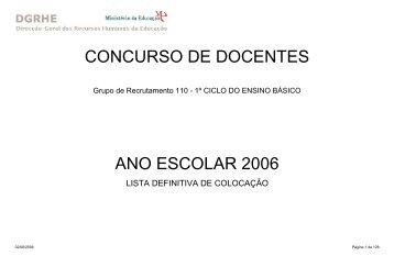 CONCURSO DE DOCENTES ANO ESCOLAR 2006 - Fenprof