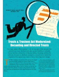 Trusts & Trustees Act Modernized: Decanting and Directed Trusts