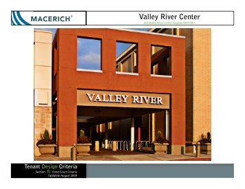 Valley River Center Food Court Criteria Manual - Macerich