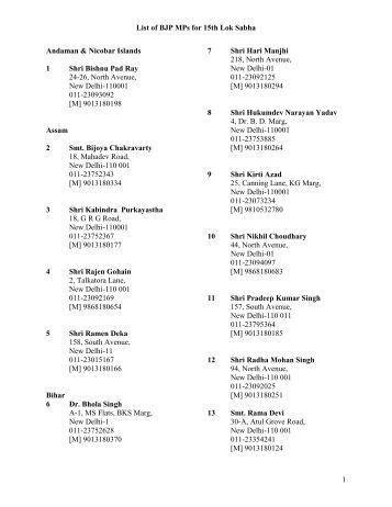 List of BJP MPs for 15th Lok Sabha 1 Andaman & Nicobar Islands 1 ...