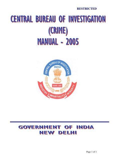 Crime Manual 2005 (Full) in PDF - Central Bureau of Investigation