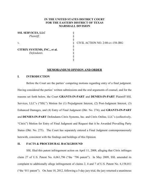 SSL Services, LLC v  Citrix Systems, Inc