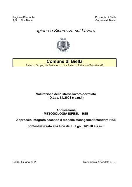 Igiene E Sicurezza Sul Lavoro Comune Di Biella
