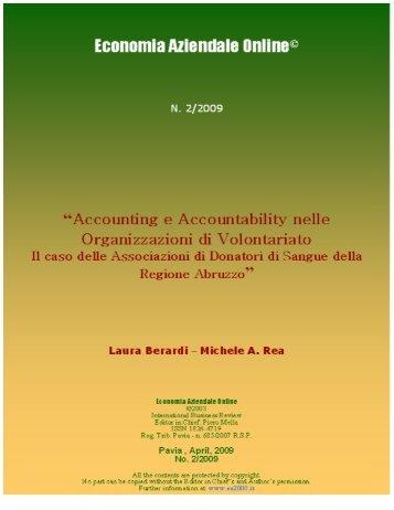 Accounting e Accountability nelle Organizzazioni di Volontariato. Il ...