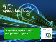 CA Datacom® Online Data Reorganization Update