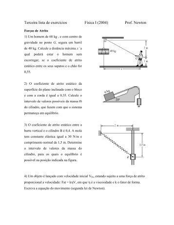 3ª lista de Física I - UNESP