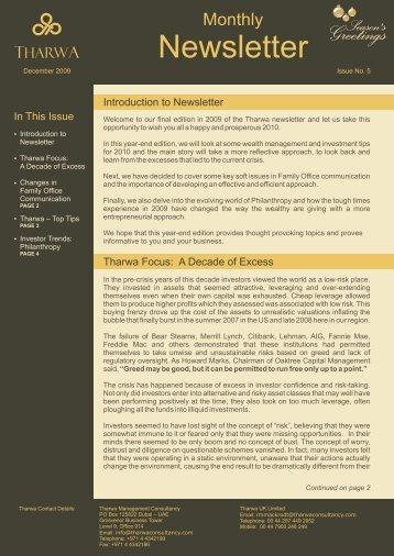 newsletter_issue05_dec09 97 Kb - Tharwa Management Consultancy