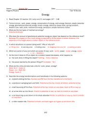 ANSWER KEY Reviewing Physics - The Bronx High School of Science