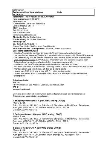 Volkmarsen - Turnierservice Van Kerckhove