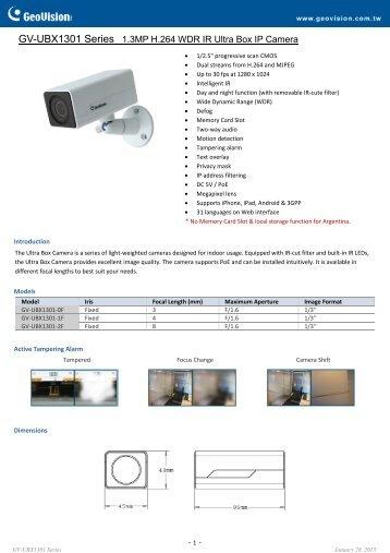 GV-UBX1301-1F Specifications - CCTV Cameras