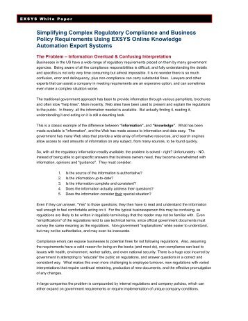 Simplifying Complex Regulatory Compliance and Business ... - Exsys
