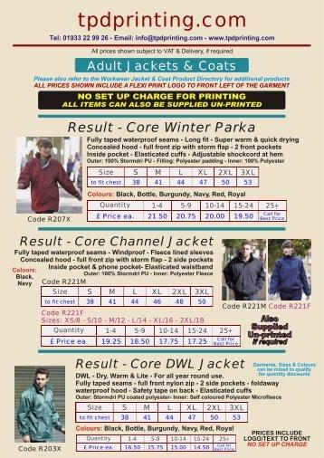 Adult Jackets & Coats - tpdprinting.com