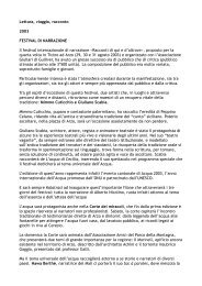 Lettura, viaggio, racconto 2003 FESTIVAL DI NARRAZIONE Il ...