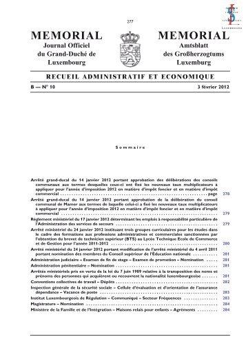 B - N° 10 / 3 février 2012 - Administration des contributions directes