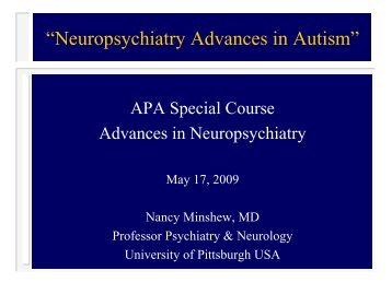 """Neuropsychiatry Advances in Autism"" - University of Pittsburgh ..."