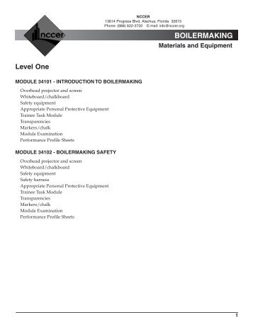 BOILERMAKING Materials and Equipment - NCCER