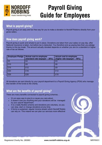 Download our Payroll Giving – Guide for Employees - Nordoff Robbins
