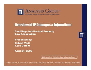 Overview of IP Damages & Injunctions - Analysis Group