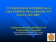 un sistema di supporto alla valutazione della ricerca in italia: ssv-orp