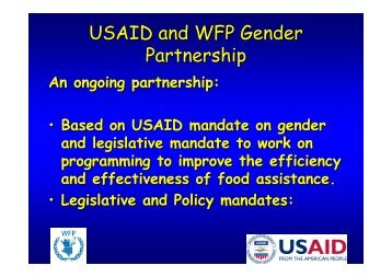 USAID and WFP Gender Partnership - Presentation of 1 July 2010