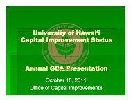 U i it f H i'i U i it f H i'i University of Hawai'i Capital Improvement ...