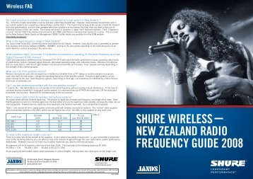 shure wireless new zealand radio frequency guide 2008 - Now Sound