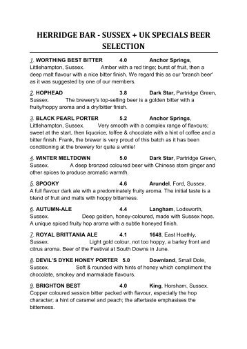 HERRIDGE BAR - SUSSEX + UK SPECIALS BEER SELECTION