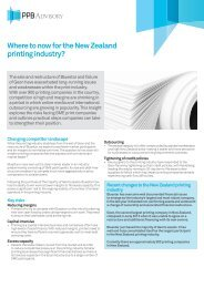 Where to now for the NZ printing industry Insight May ... - PPB Advisory