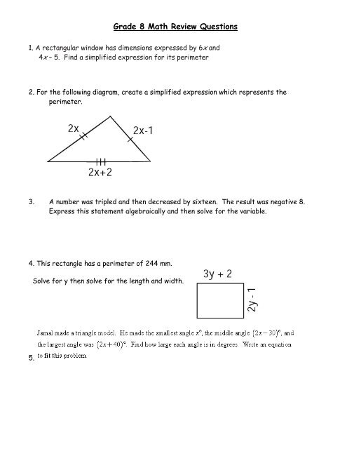 Grade 8 Math Review Questions