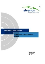 BreezeMAX PRO-S CPE Installation & Maintenance Manual - Alvarion