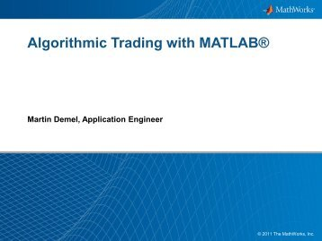 Algorithmic Trading with MATLAB® - Humusoft