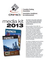 2013 CPA Parker Magazine Media Kit - Canadian Parking Association