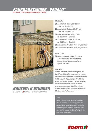 BAUZEIT: 6 STUNDEN Fahrradständer Pedalo