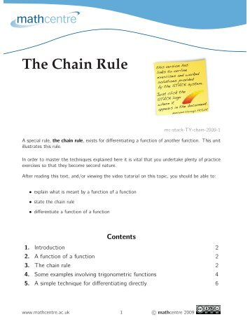 The Chain Rule (with STACK) - Math Centre