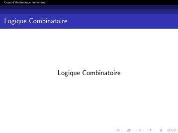 Combinatoire magazines for Tableau logique combinatoire