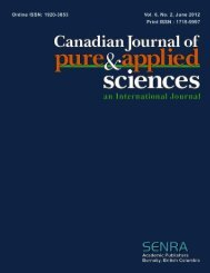 Jun-12 - Canadian Journal of Pure and Applied Sciences