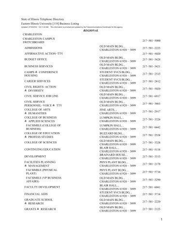 [118] Business Listing REGIONAL CHARLESTON ... - State of Illinois