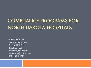 Compliance Programs for ND Hospitals - North Dakota Hospital ...