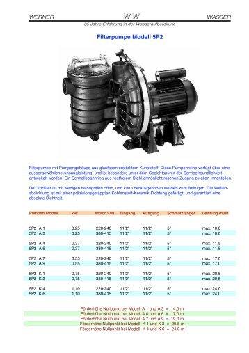 Filterpumpe Modell 5P2 - Wernerwasser.ch