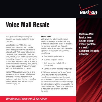 Voice Mail Resale - Verizon