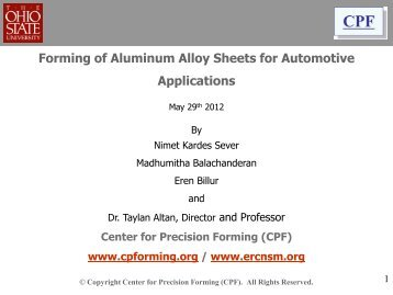 Forming of Aluminum Alloy Sheets for Automotive Applications