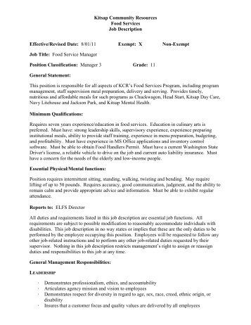 Proposed Job Description format: - Kitsap Community Resources