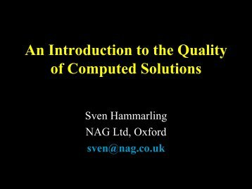 An Introduction to the Quality of Computed Solutions - Department of ...