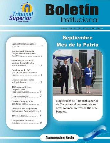 Boletin Septiembre - Tribunal Superior de Cuentas
