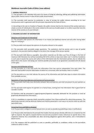 Moldovan Journalist Code of Ethics (new edition) - Consiliul de Presă