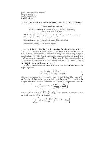 THE CAUCHY PROBLEM FOR ELLIPTIC EQUATION