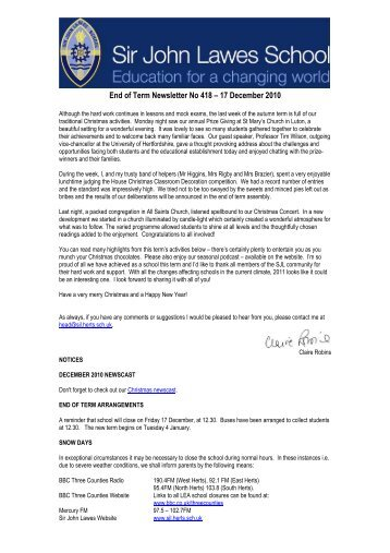 End of Term Newsletter No 418 - Sir John Lawes School