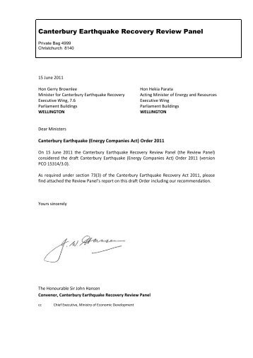 Review Panel report and recommendation - Canterbury Earthquake ...