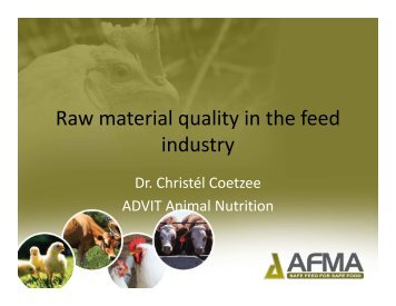 Quality control on raw materials - AFMA